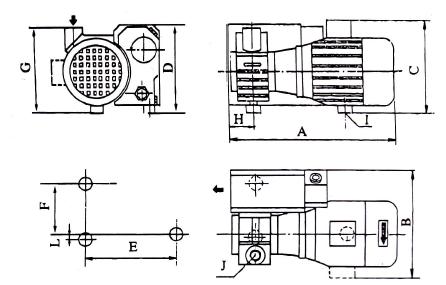 六、XD-010单级旋片式真空泵的安装方法: 1、安装 XD型单级旋片式真空泵应水平安放。同于XD型旋片式真空泵运转时几乎没有振动一般可不固定。泵底部减振垫块上有公制螺孔用以固定泵,不要在地面上推拉泵,以免损坏减振垫块。为保证XD型旋片式真空泵得到良好的冷却,泵冷却空气进风口和出风口应距周围物体30cm以上。为便于维修,建议在泵进气口和排气口前留0.4m的空隙。为方便放油可安装带放油盘的底座。发运的泵不带油。安装后,通过加油口缓慢注入所规定的真空泵油(见维护5.1)到油窗高度的3/4处。 2、XD型真空